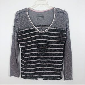 Free People Oversized Striped V-Neck Top Small